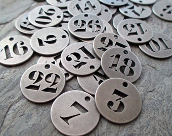 number charms round metal tags industrial silver toned pewter vintage style steampunk jewelry findings, lot of 10 pcs