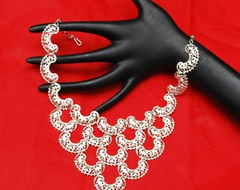 Vendome Silver Bib Necklace - Ornate Mesh  silver links - Signed - Mid Century