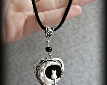 Gothic ouija planchette style cat and moon cord choker.