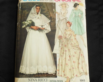Vogue Nina Ricci Designer Pattern 1363 size 14 Paris Original 1970s Adult Woman Wedding Dress Formal Bridesmaid Gown Unused Uncut FF Bust 36