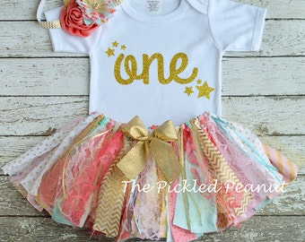 Pink Aqua Gold Coral 1st Birthday Girl Outfit 1st Birthday Outfit Baby Tutu Baby Girl 1st Birthday Outfit Cake Smash Girl Outfit Fabric Tutu