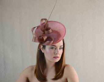 Blush Pink Saucer Hat with Copper Tone Trimming - Dusky Pink and Copper Hat - Wedding, Tea Party, Ascot, Races Headpiece