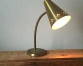 Vintage Gold Metal Gooseneck Lamp / Working / Heavy Metal Base