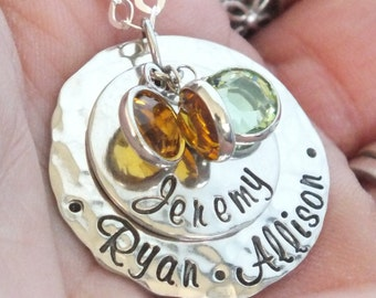 Personalized Mother Necklace, Mom Necklace, Grandma Family Necklace with Kids Names and Swarovski Crystal Elements