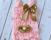 Gold and Pink First Birthday Outfit, Cake Smash Outfit, Pink and Gold First Birthday Outfit, Pink and Gold Romper, Gold and Pink Headband