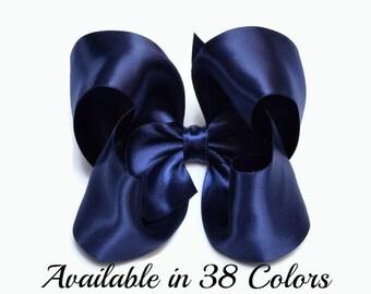 Navy Hair Bow, Satin Hair Bow, 4 Inch Satin Hair Bow,Girls Hair Bows, Satin Hairbows, Blue Satin, Alligator Clip, Snap Clip, Barrette, 904