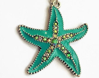 Blue Starfish Necklace, Summer Necklace, Beach Necklace, Sparkle Starfish Necklace