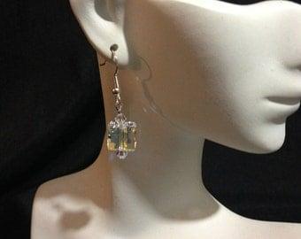 Swarovski Princess Cut Earrings, Sparkle Earrings, Crystal Earrings, Dangle Earrings