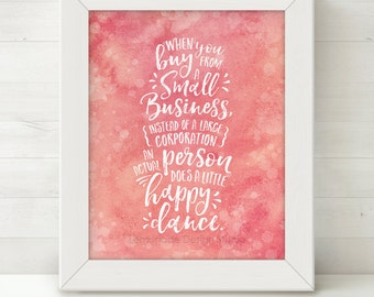 Printable Watercolor Wall Art, Instant Download Printable Art Prints, Small Business Art, Inspirational Quote Wall Art Prints Pink Printable