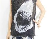 Shark T Shirt Shark Shirt Jaws Shirt (Unisex T-Shirt) Shark Tank Top Bleach Black Men T-Shirt Women T-Shirt Tunic Screen Print Size M