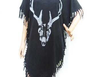 Deer skeleton T Shirt  Maxi Dress Poncho Tassel Dress bleached TShirt Black Shirt Screen Print (Measurements - fits great from S - M)