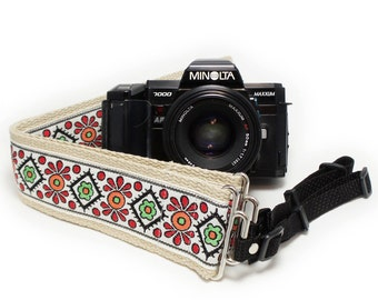 Camera Strap - Vintage Folk Flowers Woven Ribbon on Organic Hemp Webbing and Webbing ends - works with DSLR, SLR and Manual Cameras