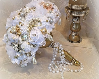 White and Gold GATSBY Brooch Bouquet,White and Gold Bouquet, Gold Brooch Bouquet,Broach Bouquet, Gatsby Wedding,White Brooch Bouquet-Deposit