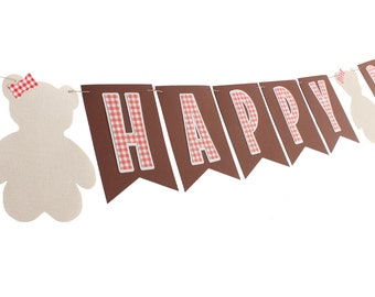 Teddy Bear Picnic Banner - Teddy Bear Birthday Banner - Gingham Birthday Banner - Picnic Birthday Banner -