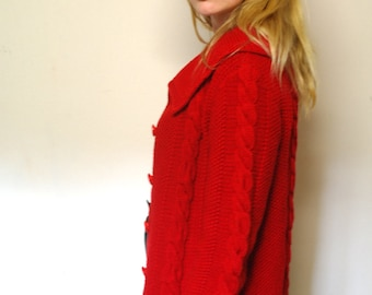 Handknitted red cardigan