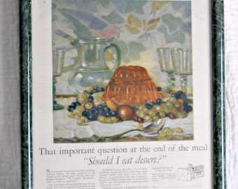 Framed Vintage Nostalgic Jell-O Ad from Pictorial Review November 1926--Linn Ball Artwork