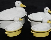 Set of Four Hall Carbone Duck Casserole Dishes