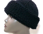 Black Russian Style Hat, Hand Knit Cossack Hat, Wool Ski Cap, Winter Toque, Warm Winter Hat, Man's Hat, Woman's Hat, Ready to Ship