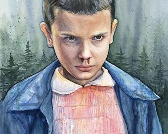 Eleven Portrait, Watercolor Art Print, Sci-Fi Art, Eleven Portrait, Sci-fi Art Print, El Fan Art