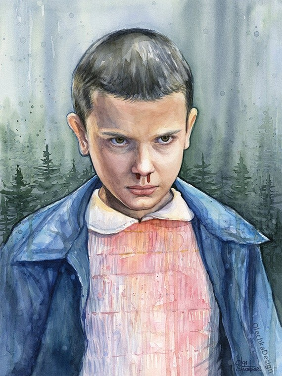 Eleven from Stranger Things Portrait, Watercolor Art Print, Stranger Things Art, Eleven Portrait, Stranger Things Poster, Sci-fi Art Print