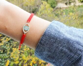 Red evil eye macrame bracelet, turquoise evil eye jewelry, turkish evil eye bracelets, macrame jewelry, all seeing eye bracelet gift