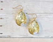 Gold Glitter Teardrop Earrings, Gold Statement Earrings, Gold Sparkle Earrings, Holiday Jewelry