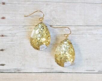 Gold Glitter Teardrop Earrings, Gold Statement Earrings, Gold Sparkle Earrings, Holiday Jewelry