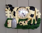 ELECO COW CLOCK-Farm Clock,Cow Clock,Country Clock,Kitchen Clock,Farmhouse Decor,Vintage Barn,Farm Salvage,Country Kitchen,Farm Kitchen,Cows