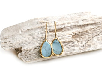 Gold Plated Framed Drop Turquoise Stone Earrings