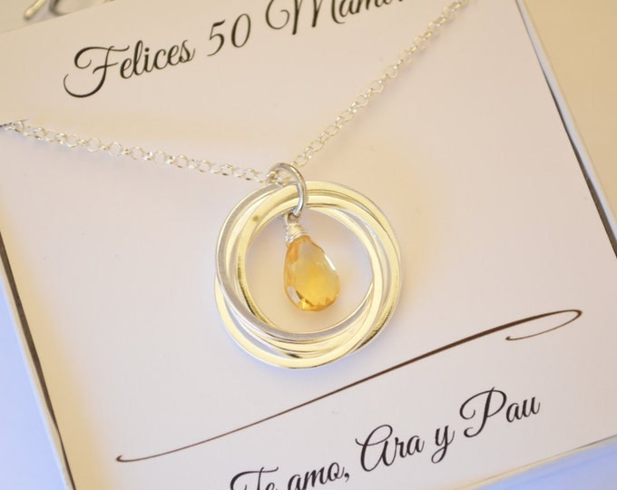 50th Birthday gift for mother necklace, Citrine necklace, 5th Anniversary gift for wife, November birthstone necklace, Mother jewelry