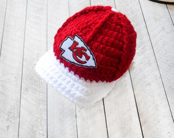 Newborn boy baby hats, Kansas City Chiefs, Infant baby boy hats, Knitted baby hats, Knitted infant hats, Crochet baby hats, Photo prop, Gift