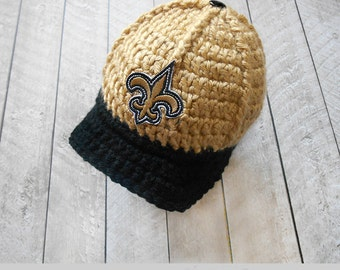 Crochet baby hat, Knitted Baby hats, Baby baseball cap, New Orleans Saints, hats for babies, knitted hat, crochet hat, football hat