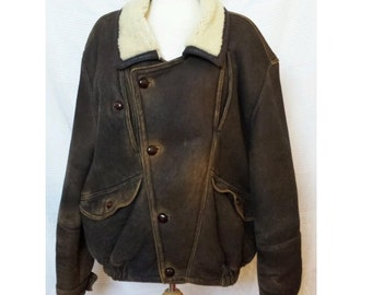 Men's Vintage Italian SHEARLING Genuine Sheepskin Coat Aviator Jacket 'Vinci'