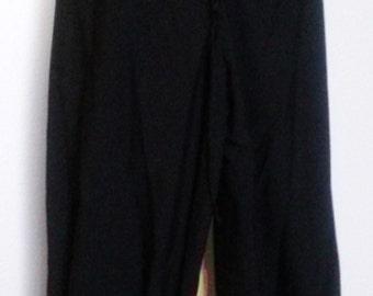 M Drawstring Pants in Black  Linen