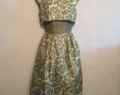 Amazing 1950s Dress Set ~ Green Floral with Bow Back Top