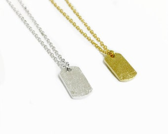 """Tiny Gold or Silver """"Name Me"""" Tag Necklace - Dainty, Simple, Birthday Gift, Wedding Bridesmaid Gift"""
