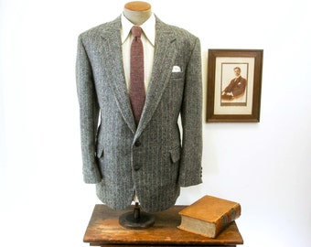 Vintage TWEED Mens Suit Jacket Gray & Black Wool Blazer / Sport Coat with colorful stripes and elbow patches by Haggar - Size 44 (LARGE)