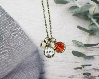 Brave Necklace, Brave Necklace, Inspirational Jewelry, Bronze, Shiny Silver, Book Lover Gift, Fandom Jewelry, Be Brave, Red Cabochon, Book