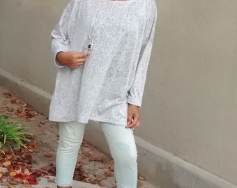Semi Sheer cotton Knit Long Sleeve Over Sized Slouchy Tunic/Top - S - 5X - New Colors Added