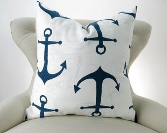 Navy Anchors Pillow Cover -MANY SIZES- Nautical Premier Prints - cushion throw couch euro sham Blue White Ships