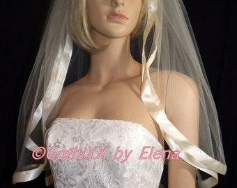 "Wedding Veil Elbow Black Red  Blush Purple Lavender Navy Pink Ivory Beige  Diamond White 2 Tiers 54"" Width 26"" 28"" Length Wide Satin Ribbon"