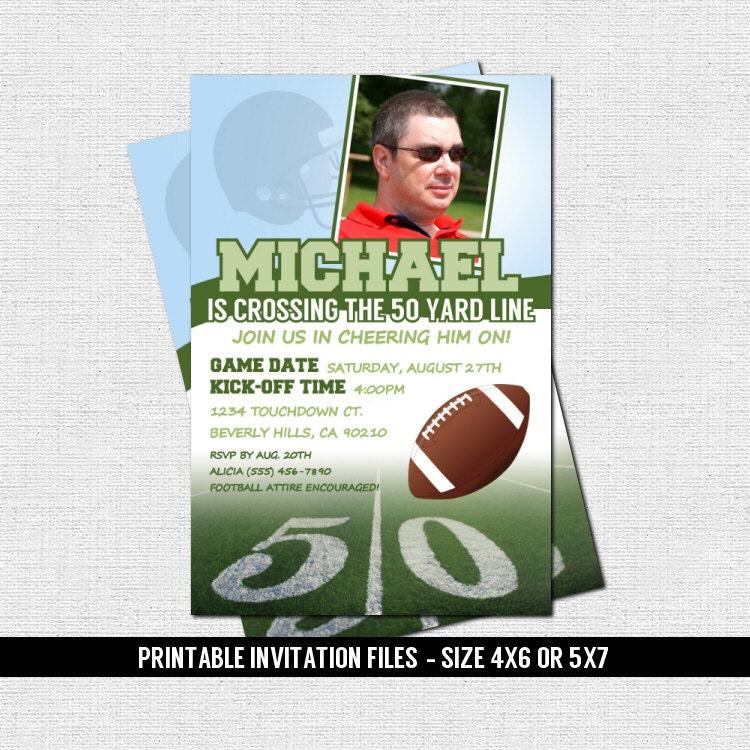50th BIRTHDAY FOOTBALL INVITATIONS 50 Yard Line Design