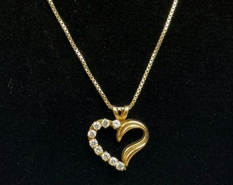 Heart Necklace 14K Gold Filled PPC Princess Pride Creations Heart Pendant Simulated Diamonds 925 Italy Sterling Danecraft Box Chain, Signed