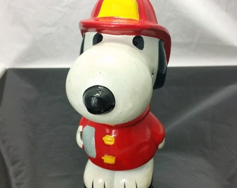 RARE  Vintage 1978 Peanuts SNOOPY FIREMAN Paper-mache Coin Bank Charlie Brown Ideal Figurine Piggy Bank