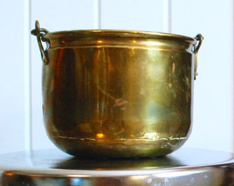Brass bucket with handle, brass pot or vase.