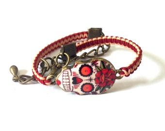 Red Rose Sugar Skull Day of the Dead Charm Shamballa Bracelet