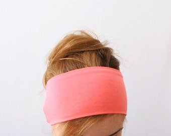 Wide headband coral pink women's yoga head band stretch jersey wraps comfort sport hair band everyday bright colorful neon pastel accessory