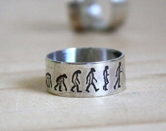 Darwin, sterling silver ring, evolution theory