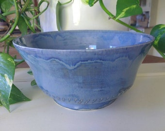 Pottery Fruit Bowl Porcelain Stoneware Made in UK - Perfect Wedding Gift idea - Blue