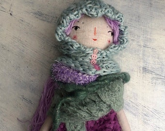 Sweet Pixie Doll, Rag Doll, Handmade Doll, Best Friend For Girl, OOAK Doll, Cloth Art Doll, Lilac Purple Green Blue